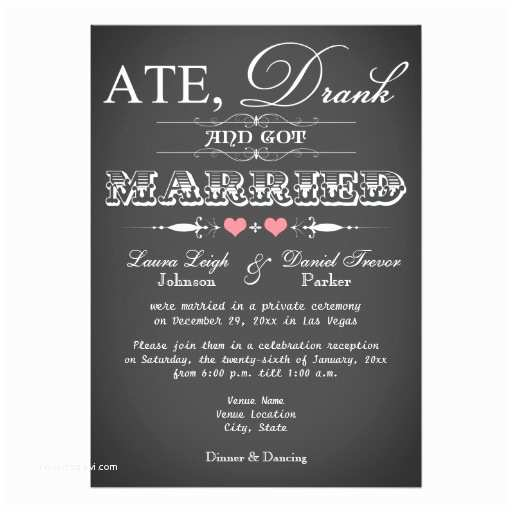 Reception Only Wedding Invitations Chalkboard Style Wedding Reception Ly Invite