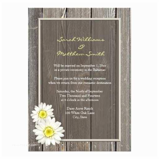 Reception Only Wedding Invitations Reception Ly Rustic Daisy Wedding Invitations