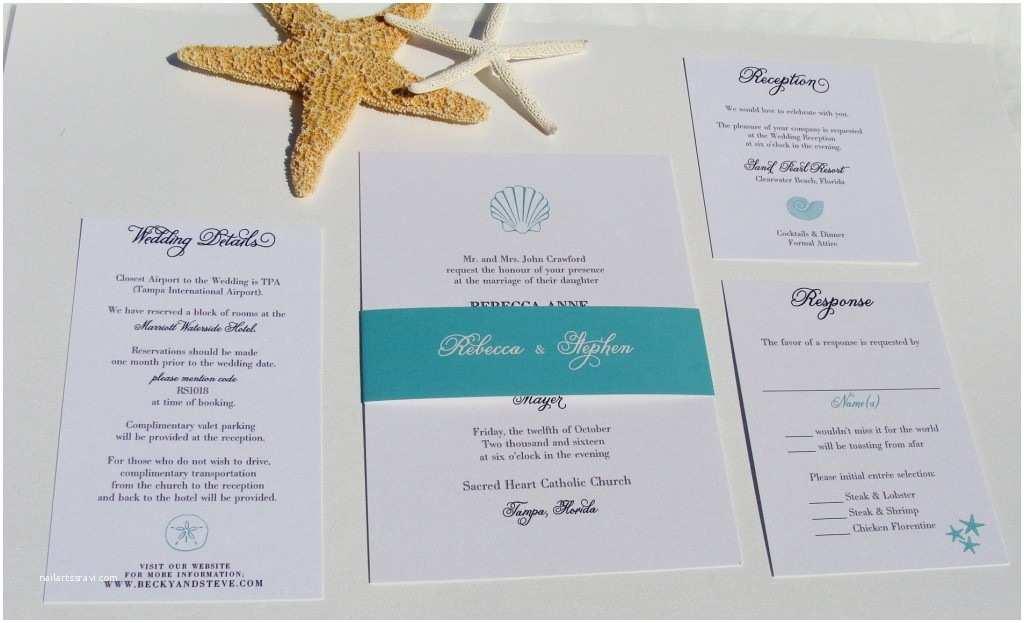 Rectangle Wedding Invitations Beach theme Wedding Invitations Rectangle Potrait White
