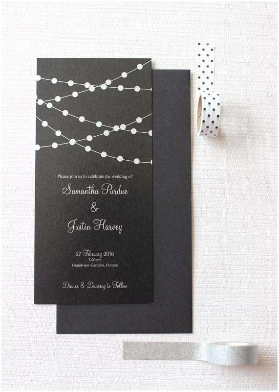 Rectangle Wedding Invitations Fairy Lights Long Rectangle Wedding Invitation Be My