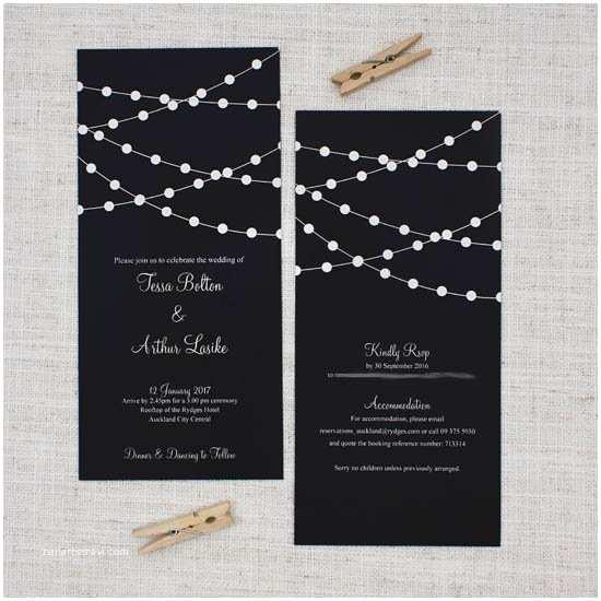 Rectangle Wedding Invitations Fairy Lights Long Rectangle Wedding Invitation Be My Guest