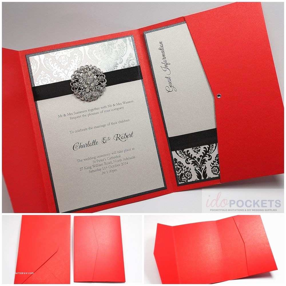 Rectangle Wedding Invitations Red Shimmer Rectangle Wedding Invitation Envelopes Pocket