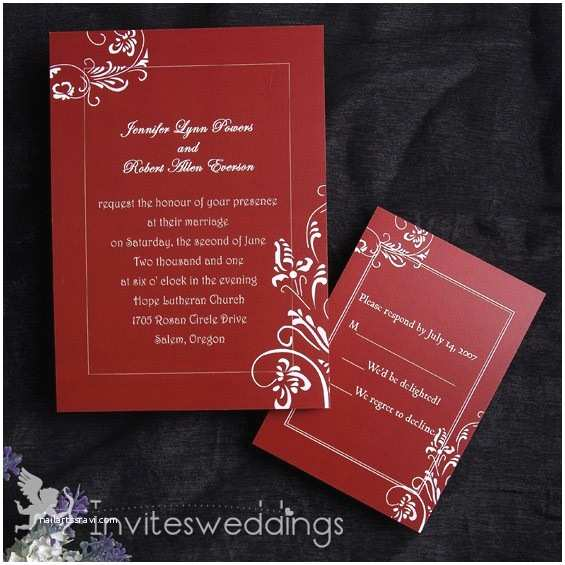 Rectangle Wedding Invitations Red Wedding Invitations Rectangle Potrait Pocket
