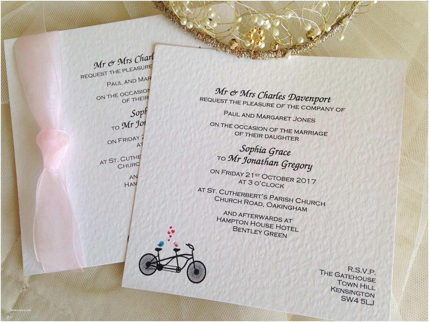 Rectangle Wedding Invitations Tandem Bike Flat Square Wedding Invitations