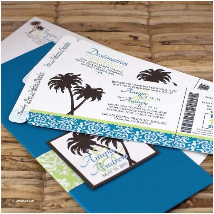 Rectangle Wedding Invitations Tropical Wedding Invitations Blue Rectangle