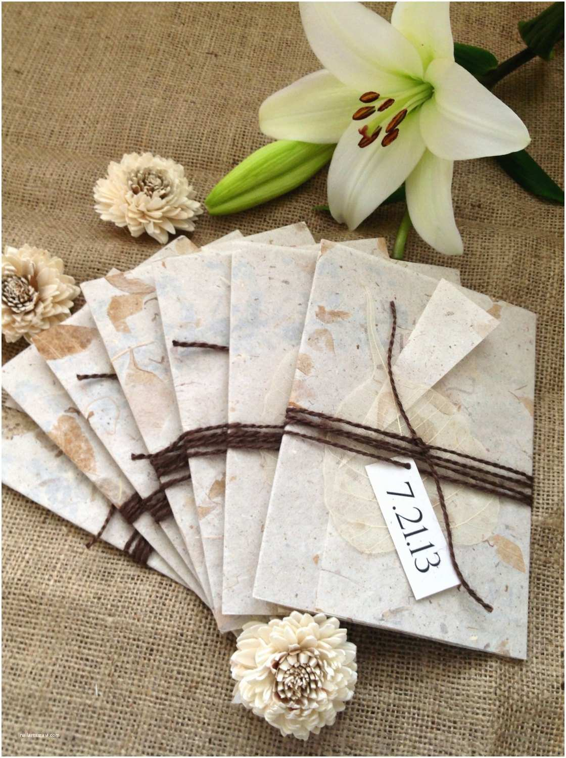 Recycled Paper Wedding Invitations Eco Friendly Recycled Paper Wedding Invitation Wrapped In