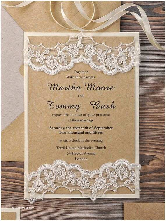 Recycled Paper Wedding Invitations Lace Eco Recycling Paper Wedding Invitation by