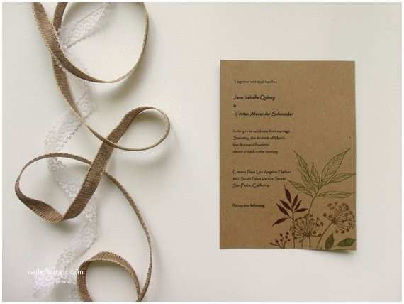 Recycled Paper Wedding Invitations Natural Wedding Recycled Paper Invitation Set by Papermelodys