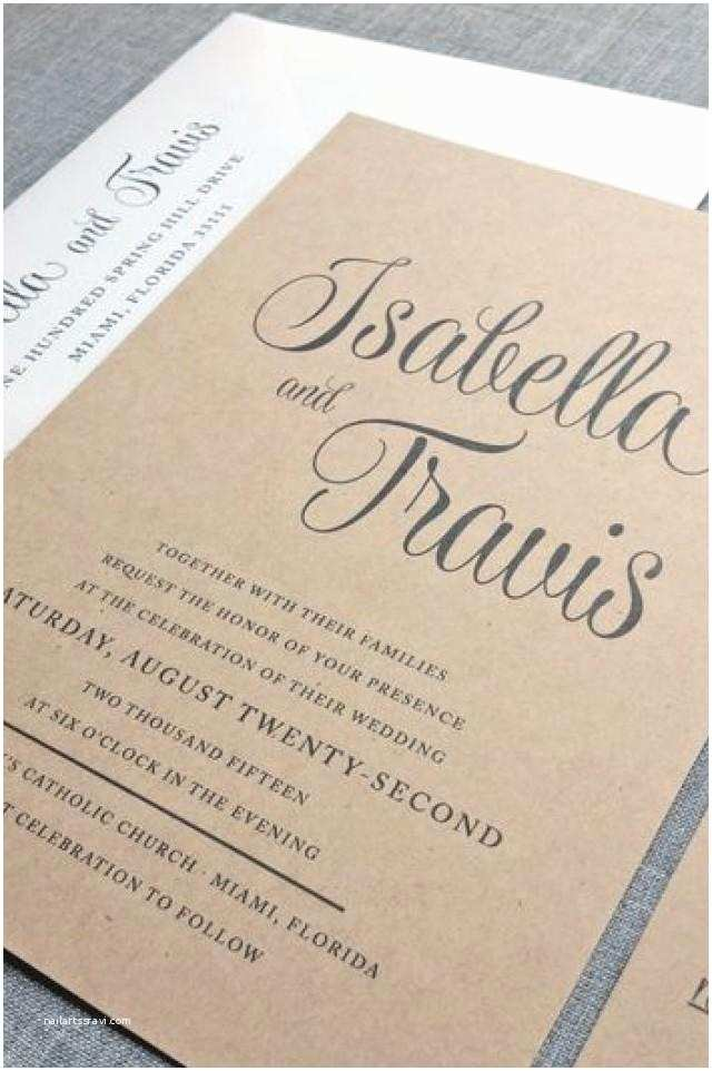 Recycled Paper Wedding Invitations New isabella Script Recycled Kraft Wedding Invitation