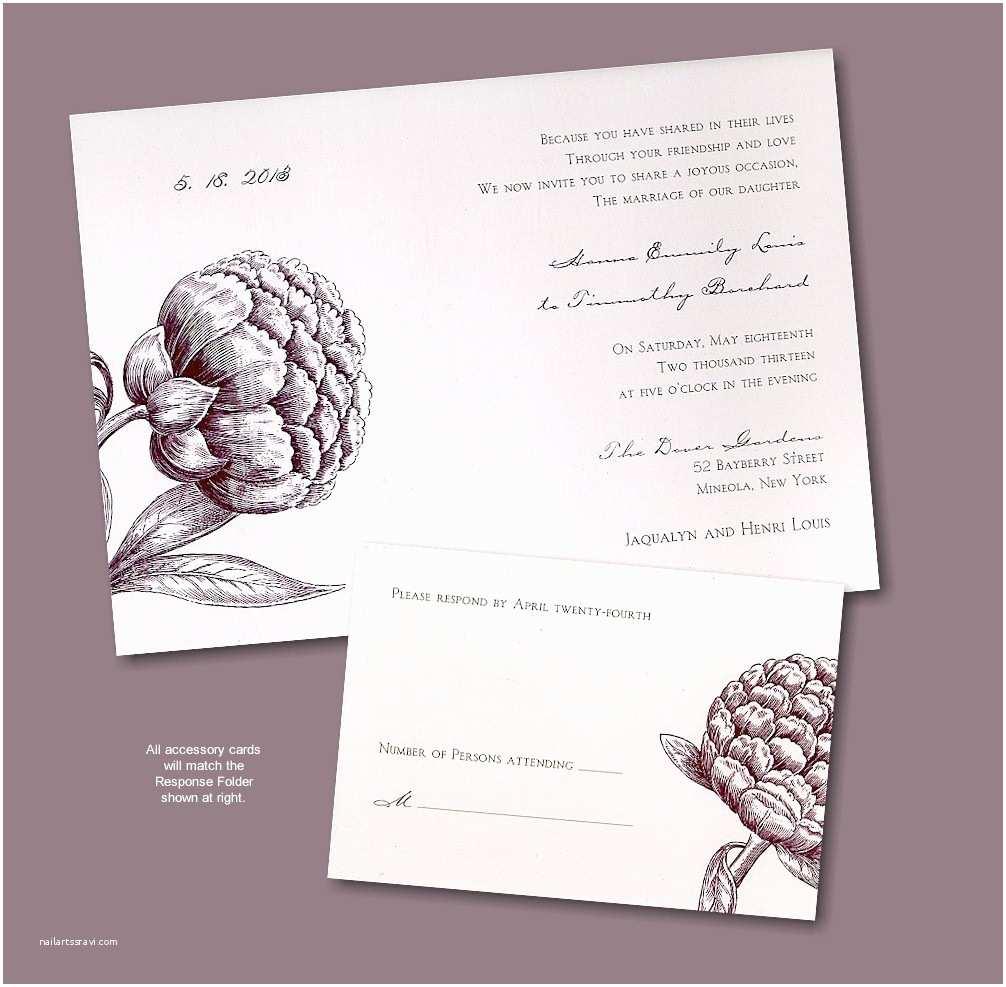 Recycled Paper Wedding Invitations Peony Recycled Paper Wedding Invitation