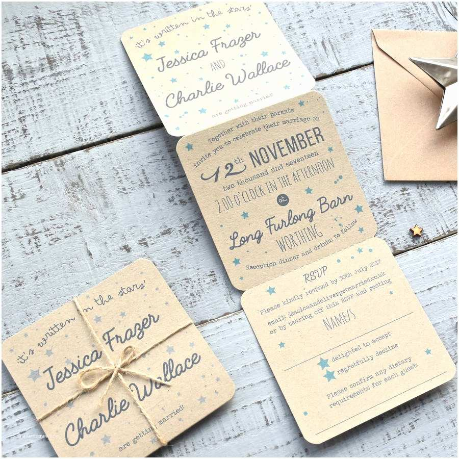 Recycled Paper Wedding Invitations Star Tri Folded Recycled Wedding Invitation by Paper and