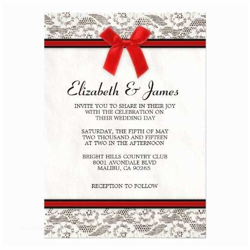 """Red and Black Wedding Invitations Cheap Black & Red Country Lace Wedding Invitations 5"""" X 7"""