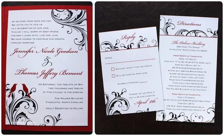 Red and Black Wedding Invitations Cheap Red Black White Love Birds Swirl Vine Pocketfolds Emdotz