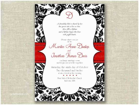 Red and Black Wedding Invitations Items Similar to Modern Wedding Invitation Invite Black