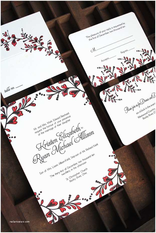 Red and Black Wedding Invitations Kristen Ryan's Red and Black New Year's Eve Wedding