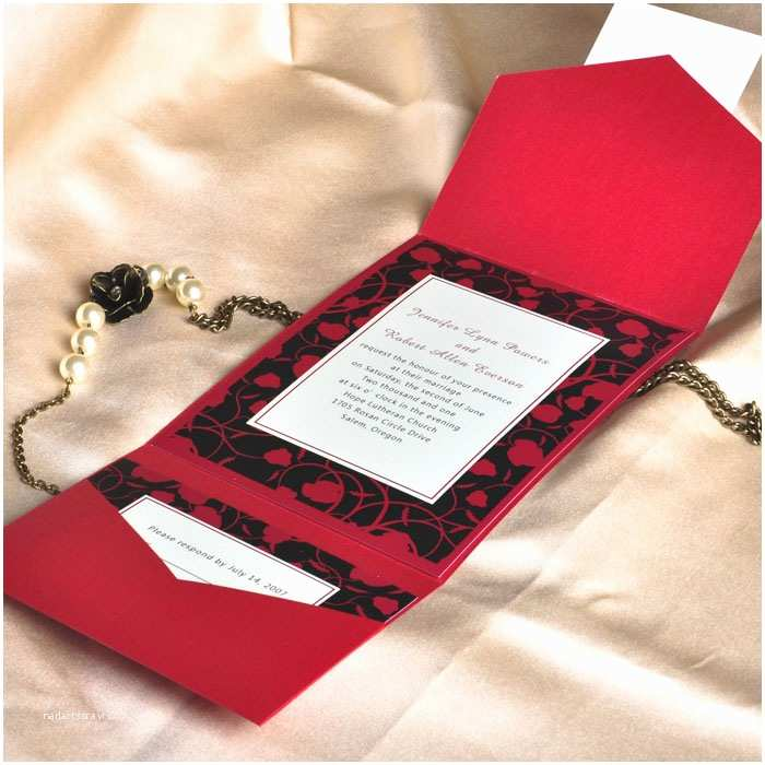 Red and Black Wedding Invitations Modern Red and Black Pocket Printable Wedding Invitation