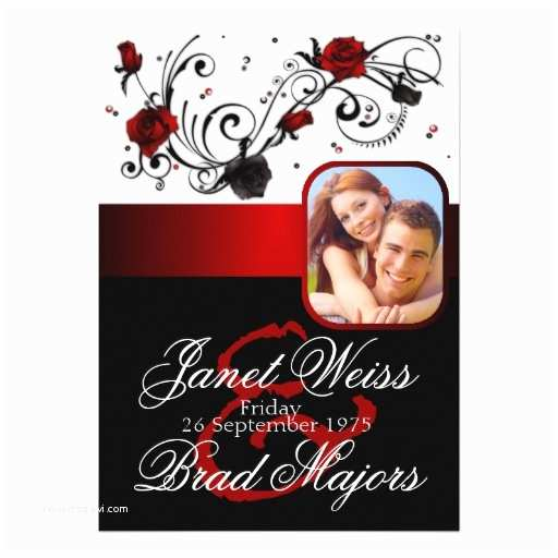 """Red and Black Wedding Invitations Modern Red and Black Rose Wedding Invitation 5"""" X 7"""