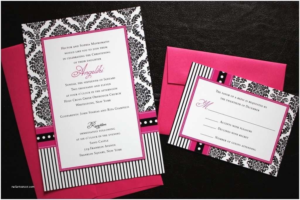 Red and Black Wedding Invitations Pink & Black Damask Dot & Stripe Invitations Emdotzee