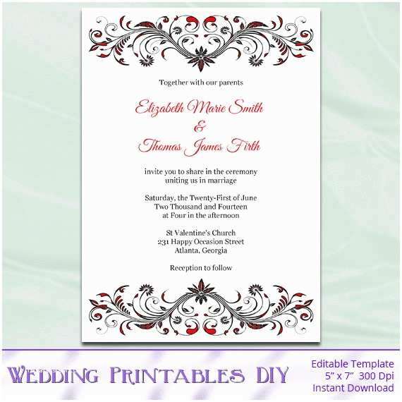 Red and Black Wedding Invitations Red and Black Wedding Invitation Template Diy Birthday Bridal