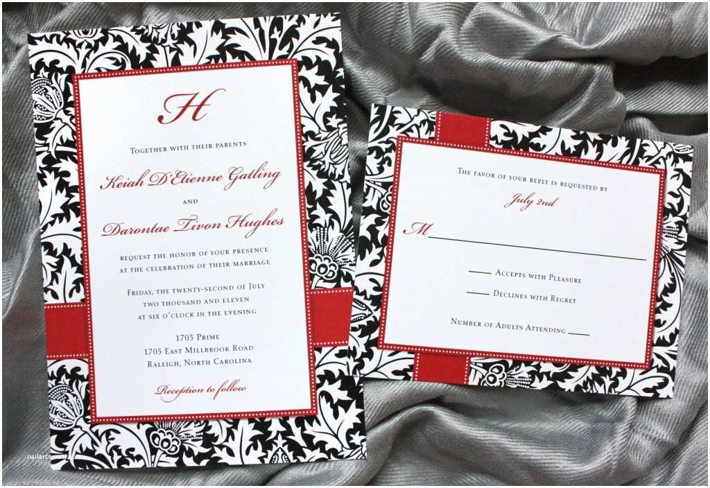 red black white damask and dot wedding invitations