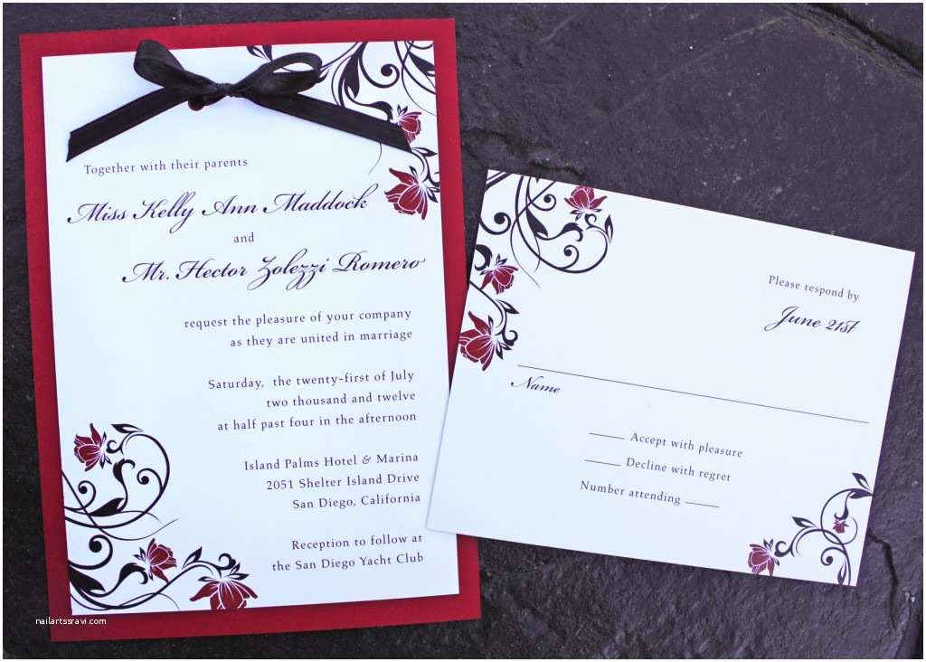 Red and Black Wedding Invitations Red Rose & Black Swirl Vine with Ribbon Bow Wedding