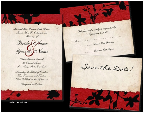 Red and Black Wedding Invitations Wedding Cards and Gifts Red and Black torn Paper Wedding