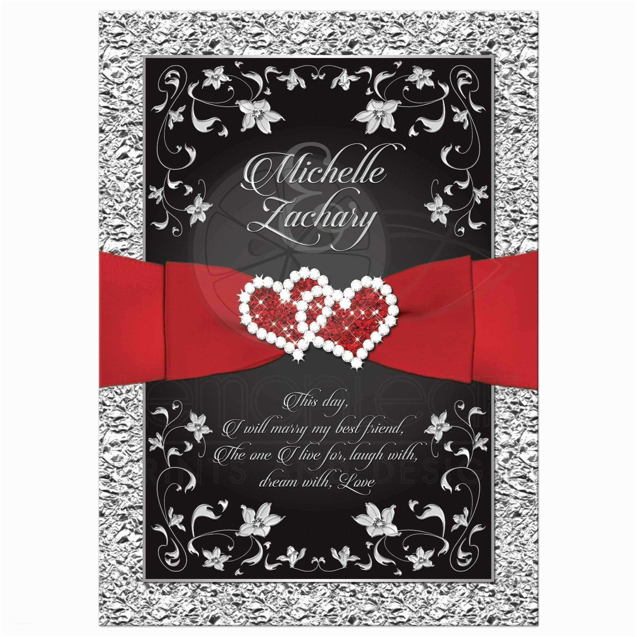 Red and Black Wedding Invitations Wedding Invitation Black Red Silver Floral