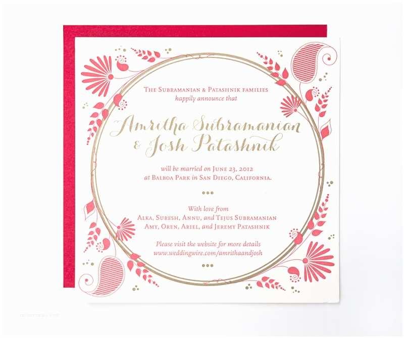Red and Gold Wedding Invitations Amritha Josh S Red and Gold Letterpress Wedding Invitations