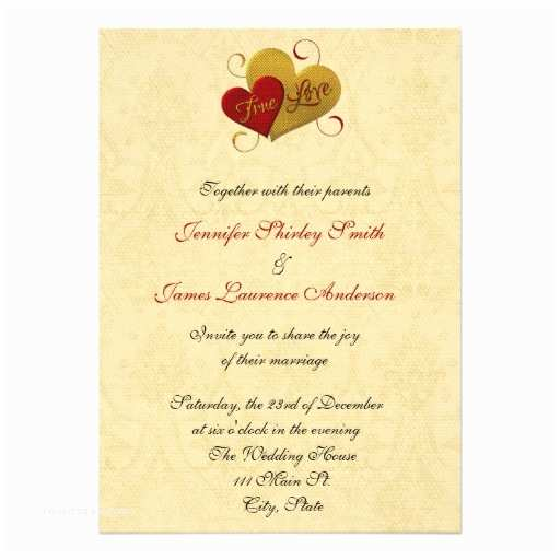Red and Gold Wedding Invitations Personalized Intertwined Hearts Invitations