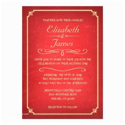 red and gold chalkboard wedding invitations