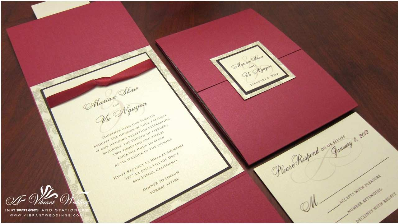 Red and Gold Wedding Invitations Red and Gold Wedding Invitation with Ribbon – Gate Fold
