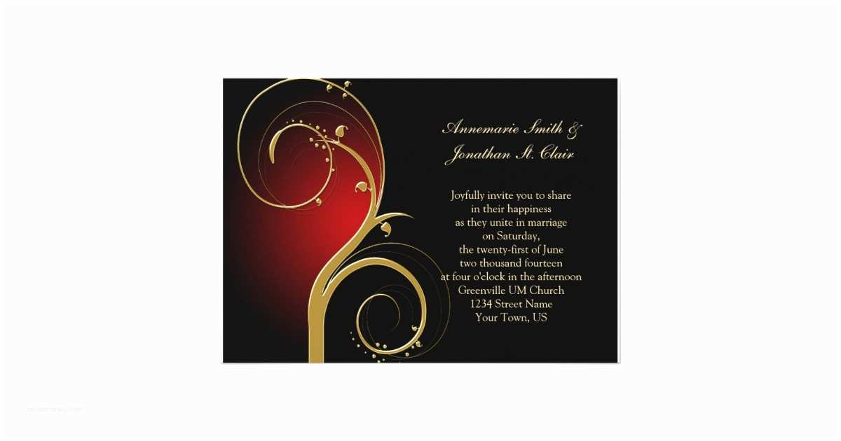 Red and Gold Wedding Invitations Vintage Red Black and Gold Wedding Invitation