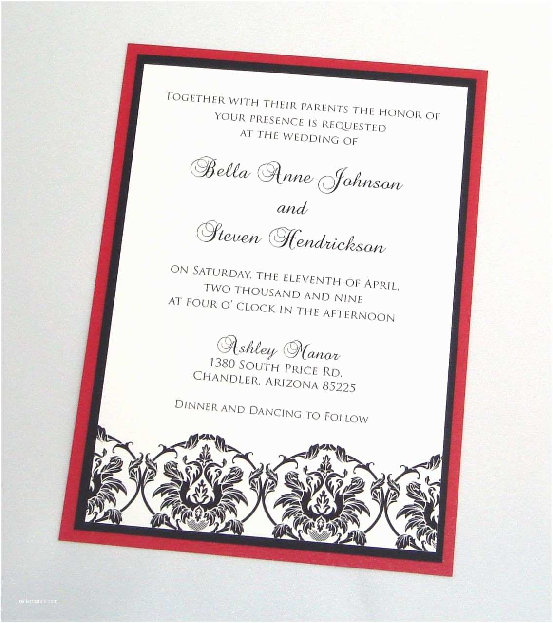 Red and White Wedding Invitations Bella Damask Wedding Invitation Sample Black White and Red