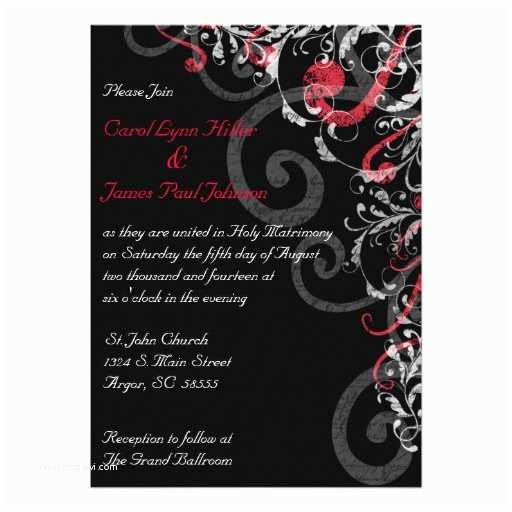 "Red and White Wedding Invitations Black White and Red Wedding Invitation 5"" X 7"" Invitation"