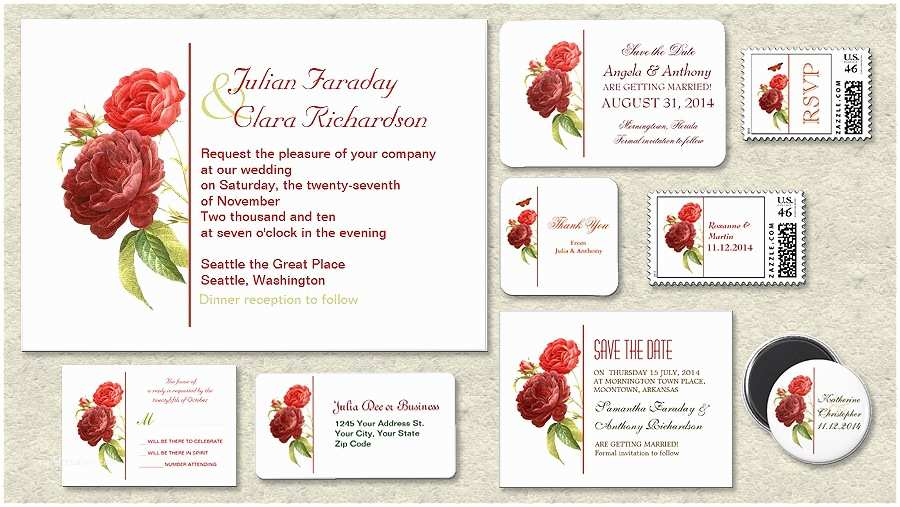 Red and White Wedding Invitations Red and White Rose Wedding Invitations