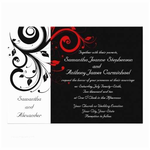Red and White Wedding Invitations Wedding Invitation Wording Black White and Red Wedding