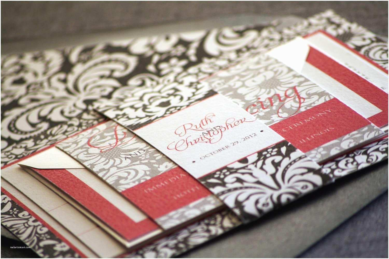 Red Black and White Wedding Invitations Black White and Red Damask Wedding Invitations