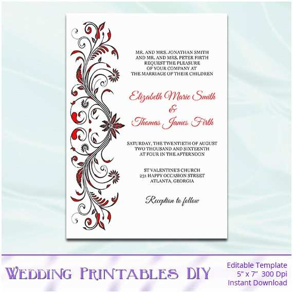 Red Black and White Wedding Invitations Items Similar to Red and Black Wedding Invitations