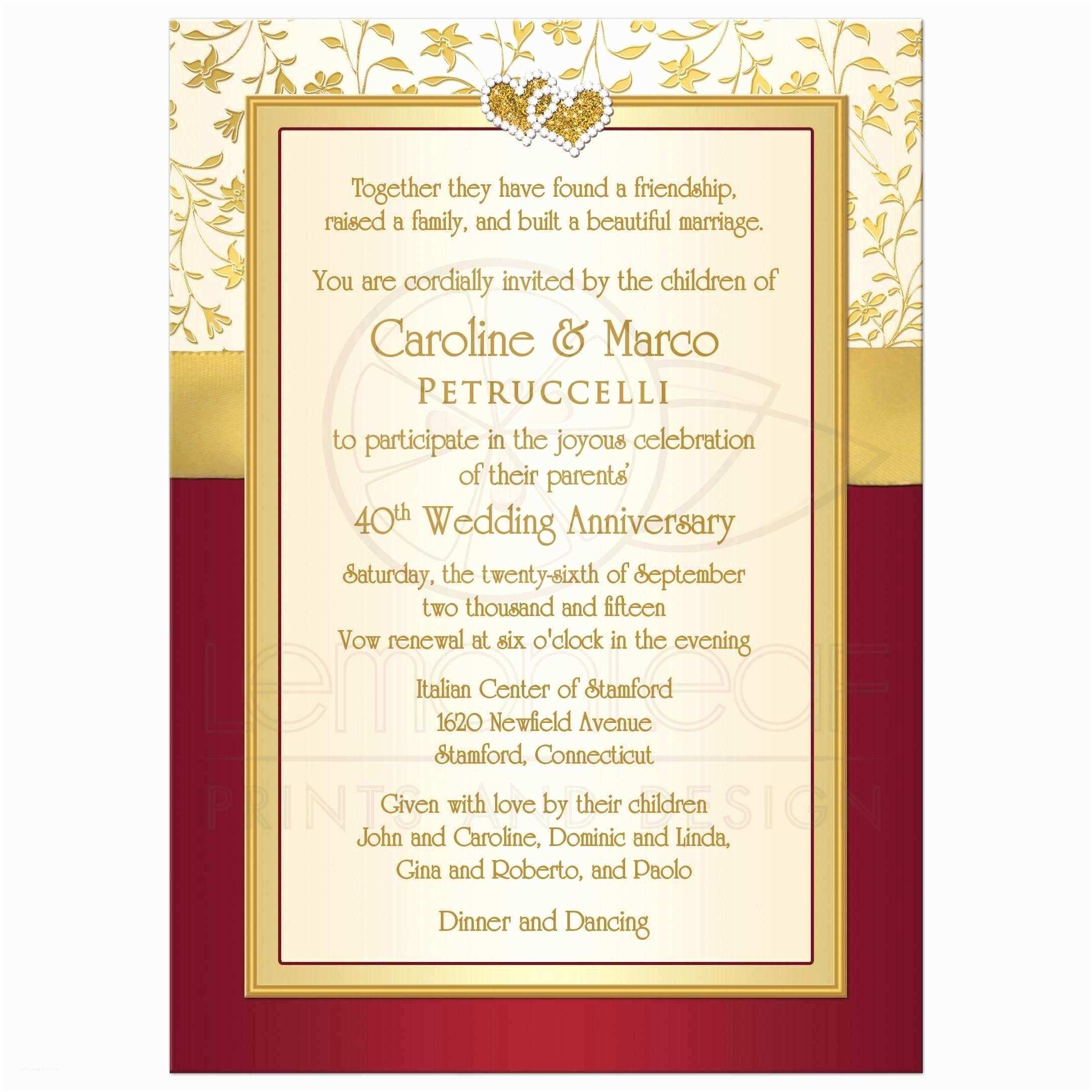 Red Ivory and Gold Wedding Invitations 40th Wedding Anniversary Invitation