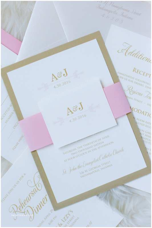 Red Ivory and Gold Wedding Invitations Blush Pink Ivory and Gold Shimmer Wedding Invitation