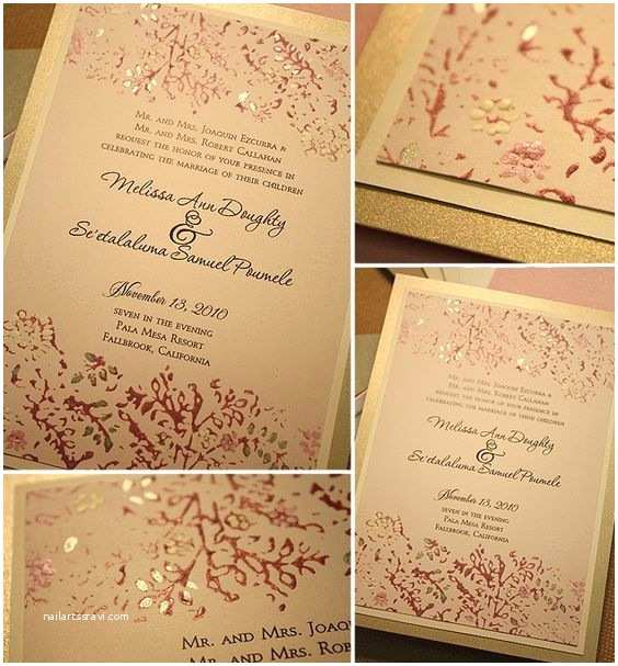 Red Ivory and Gold Wedding Invitations Diy Wedding Invitation Design Idea In Pink Ivory and Gold