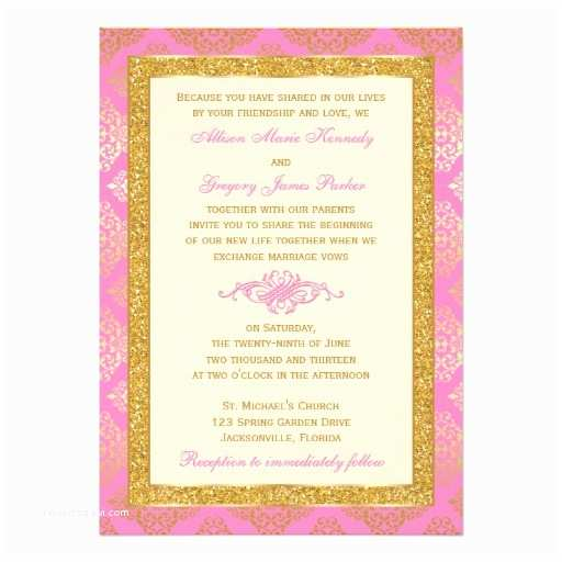 Red Ivory and Gold Wedding Invitations Pink Ivory Gold Glitter Damask Wedding Invite
