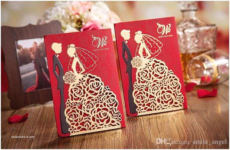 Red Laser Cut Wedding Invitations 2018 New Personalized Wedding Invitations Cards Red Color