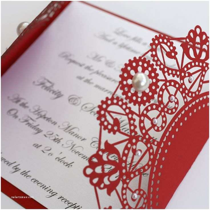 Red Laser Cut Wedding Invitations 38 Best Red Wedding Invitations Images On Pinterest