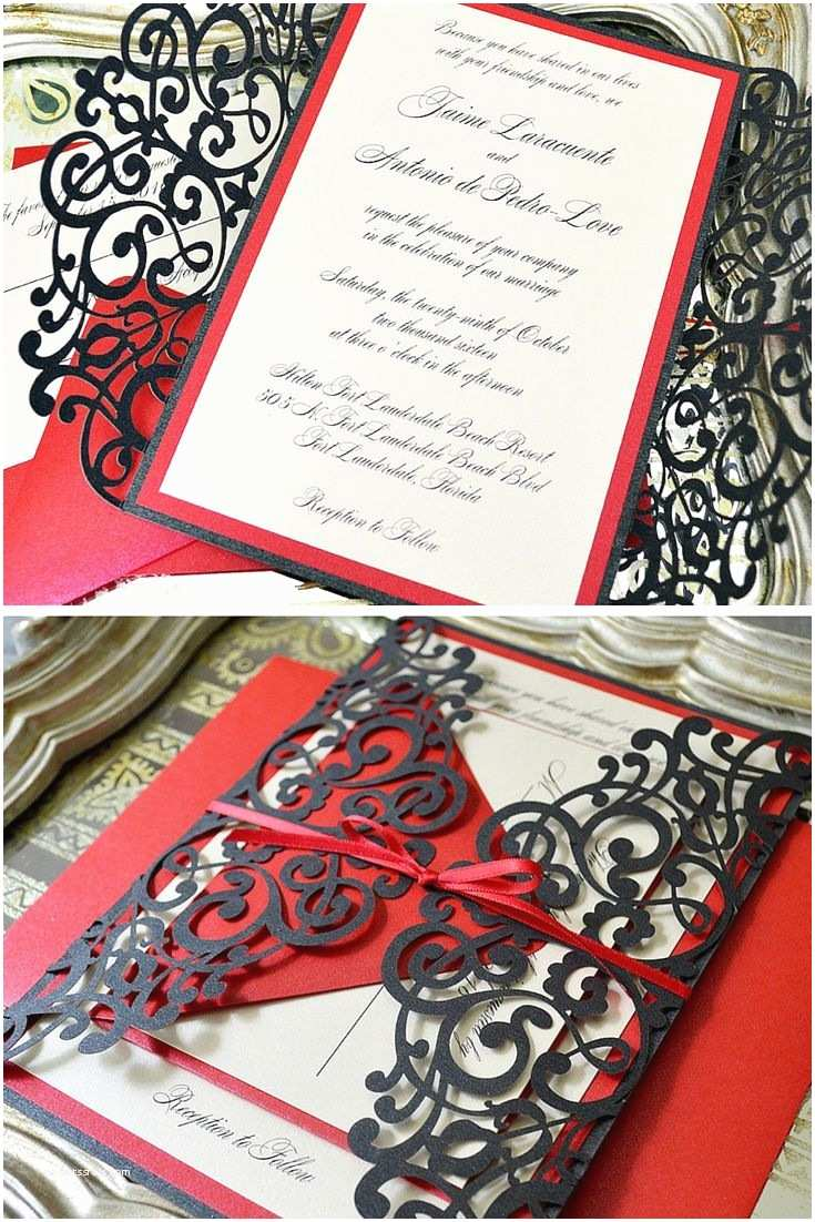 Red Laser Cut Wedding Invitations Black and Red Laser Cut Wedding Invitation by Paper & Lace