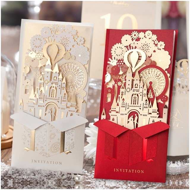 Red Laser Cut Wedding Invitations Elegant Pop Up D Invitation Card Laser Cut Gold Red Foil