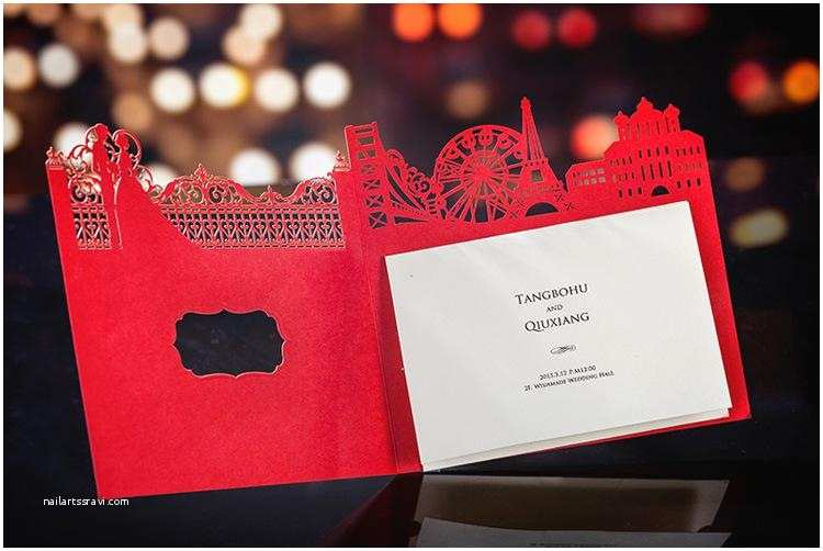 Red Laser Cut Wedding Invitations Red Laser Cut Wedding Invitation Card Lc1002
