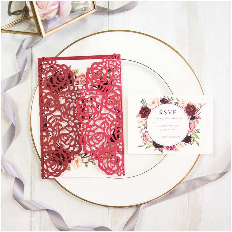 Red Laser Cut Wedding Invitations Stunning Red and Burgundy Rose Floral Laser Cut Wedding