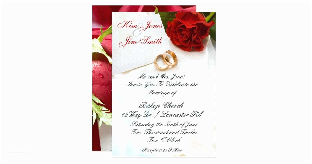 Red Rose Wedding Invitations Red Rose Wedding Invitations