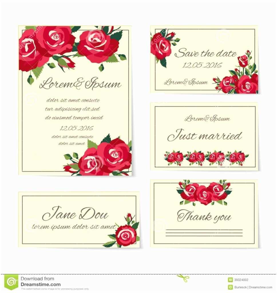 Red Rose Wedding Invitations Uncategorized Set Wedding Invitation Cards with Roses